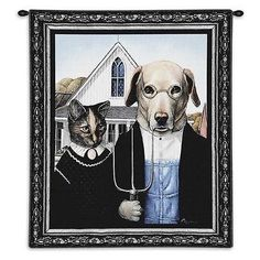 26x34 AMERICAN GOTHIC Dog Cat Tapestry Wall Hanging