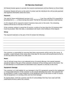 free and printable disc jockey contract form. Black Bedroom Furniture Sets. Home Design Ideas