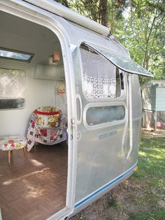 Inside a gutted/renovated 1974 Airstream (same year/model as our Airstreamy)