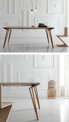 Extending lacquered rectangular wooden #table OBLIQUE by ALIVAR | #design Andrea Lucatello @Alivar