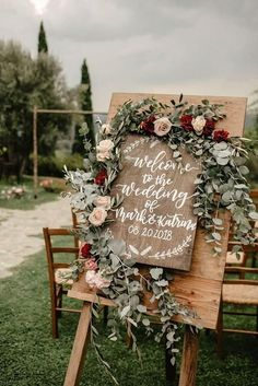 Top 11 Most Glamorous BOHO Wedding Ideas wooden wedding sign with sage leaves and burgndy flowers country wedding decors. Top 11 Most Glamorous BOHO Wedding Ideas wooden wedding sign with sage leaves and burgndy flowers country wedding decors. Wooden Wedding Signs, Wedding Ceremony Signs, Wedding Ceremony Decorations, Ceremony Backdrop, Wedding Venues, Outdoor Ceremony, Winter Wedding Ceremonies, Wedding Cakes, Wedding Backdrops