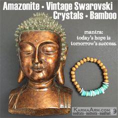 "Amazonite is a ""#Stone of #Success and Abundance"", attracting focus and good luck. #love #yoga #mala #women #men #bracelets #bracelet #chakra #goals #happiness #bead #mantra #healing #zen #meditate #karma #style #prayer #spiritual #meditation #friendship #lucky #buddhist #buddha #fitness #luck #luxury #power #energy #crystal #grateful #motivate #mensstyle #jewelry #fashion #blue #OOAK #artisan #handmade"