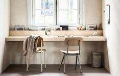 desk w/ trough for stuff Bedroom Workspace, Small Workspace, Bedroom Decor, Diy Office Desk, Decoration Ikea, Plywood Walls, Sweet Home, Wall Desk, Home Office Design