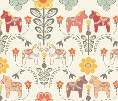 """dala horse paste multico L"" fabric by nadja_petremand on Spoonflower - custom fabric"