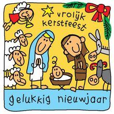 Vrolijke tekening van een kerststal- Greetz