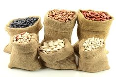 Stock Photo of Different kinds Bean Seeds (legume, pulse) in burlap bags (sacks) front view over white background. Yarn Crafts, Diy And Crafts, Food For Memory, Bean Seeds, Burlap Bags, Different Kinds, Sack Bag, Miniature Crafts, Mini Things