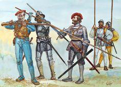Castile and Aragon - The Italian Campaigns, 1495-1503: • Aragonese arquebusier  • Castilian pikeman  • Gonzalo de Córdoba