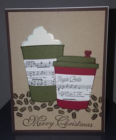 Jingle Christmas Coffee by leibetty - Cards and Paper Crafts at Splitcoaststampers Diy Christmas Cards, Christmas Scrapbook, Xmas Cards, Holiday Cards, Christmas Star, Homemade Greeting Cards, Homemade Cards, Coffee Cards, Winter Cards