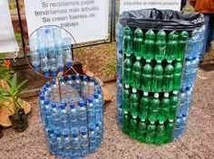 Pet Bottle Garbage Bin.....what a great idea! Think I will make a square one for outside to put the beer cans in!