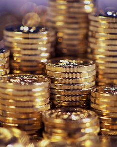 Gold by Bob Wickham  Stacks of Australian coins fresh from the mint