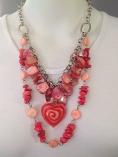 Chunky double strand chain and charms necklace with lampwork heart swirl pendant, shell and mother of pearl - Michela Rae