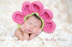 Newborn Crochet Flower Bonnet Photography by ThisanThatBoutique, $25.00