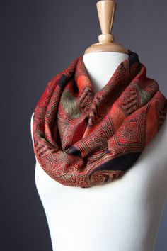 Large paisley  Infinity Scarf , Pashmina / silk ,  Orange / Red / Brown , women scarves on Etsy, $29.00