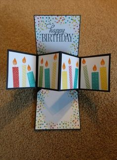 Inside of a Twist and Pop Birthday card using Stampin up. Created by Irene Sims, Pivot and Pop Up, Fun Fold Birthday Card Pop Up, 18th Birthday Cards, Homemade Birthday Cards, Birthday Cards For Boys, Bday Cards, Diy Birthday, Pop Out Cards, Fun Fold Cards, Folded Cards