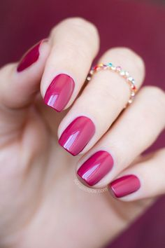 nail manicure in raspberry