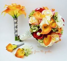 In vibrant reds, yellows and oranges, this gorgeous and fresh-feeling wedding…