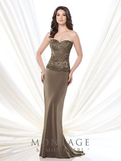 Strapless sweetheart silky crepe sheath with hand-beaded bodice, sweep train. Matching shawl and removable straps included. Sizes: 4 – 20