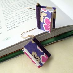 Mini Book Earrings Purple Silhouette Book by smallbookcompany