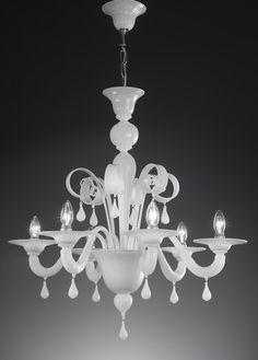 Lustre en verre de Murano authentique 6 lumierès Topdomus Mori blanc
