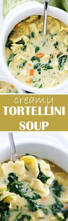 Creamy Tortellini Soup – Quick, easy, and deliciously creamy soup packed with. Creamy Tortellini Soup – Quick, easy, and deliciously creamy soup packed with cheesy tortellini and fresh spinach. Soup Recipes, Vegetarian Recipes, Dinner Recipes, Cooking Recipes, Healthy Recipes, Vegetarian Soup, Spinach Recipes, Cooking Games, Snacks