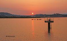 Sunset over corfu airport bay, Peloponnese Western Greece n de Ionian Island_ Greece