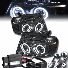 04-08 Ford F150 Dual Angel Eye Halo Projector Headlights With HID Kit - Smoked