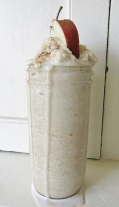 APPLE CRISP SMOOTHIE (E)  1 tray of ice cubes - 1/2 c. unsweetened applesauce - 1 c. unsweetened vanilla almond milk - 1 scoop vanilla whey protein powder - 1/2 c. whole old fashioned oats - 1 t. vanilla - 1/2 t. cinnamon - 1/4 t. butter extract  **Blend ice cubes in the blender first then add all the remaining ingredients on top, mix again. Leave oatmeal somewhat whole for texture/chewiness.