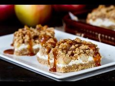 Caramel Apple Cheesecake Bars - buttery crust, creamy cheese, tender apples, streusel topping, everything drizzled with caramel sauce - the best fall dessert.
