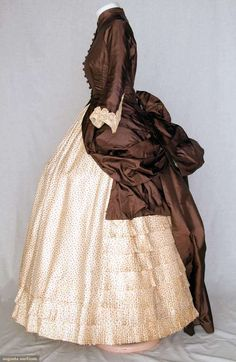 TWO TONE SILK BUSTLE DRESS, c. 1880 - check out the tiny floral print on the silk twill skirt