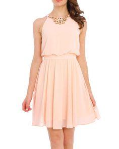 Sleeveless Gem Chest Flared Sheer Dress