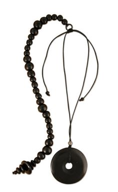 Classic Black Posture Reminder Necklace Washer Necklace, Beaded Necklace, Beads, Stone, Pendant, Classic, Gifts, Stuff To Buy, Jewelry