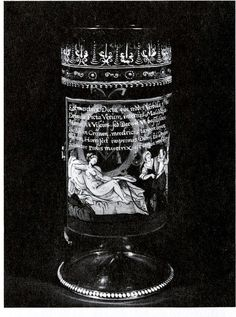 German/Bohemian enamel-painted Humpen dated 1625, formerly in the Blumka Collection, NY -- here scanned from Axel von Saldern's 1965 book on the Edwin J Beinecke Coll (fig.157). The image and Latin sestet are copied from the de Passe print NEXT