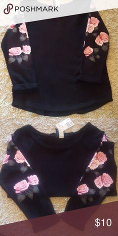 H&M Sweatshirt Black with flower sleeve sweatshirt H&M Tops Sweatshirts & Hoodies