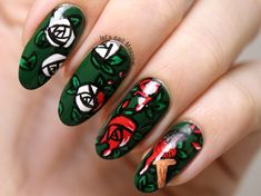 Nailpolis Museum of Nail Art | painting roses red - disney - alice in wonderland nail art by Let's Nail Moscow