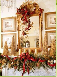 Gold, Red and Green Christmas Mantel