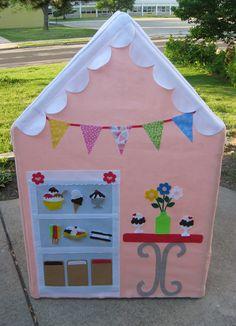 Fabric Playhouse, Petite Palatial Playhouse, Ice Creamery, Fits over PVC Frame You Build. $330.00, via Etsy.
