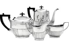 Fluted Tea & Coffee Service, 4 Pieces Era:      Antique; 19th century