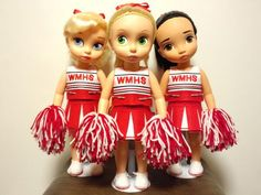 McKinley's cheerleaders with : Rapunzel as Quinn, Cinderella as Brittany and Pocahontas as Santana! Good idea.