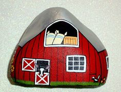 1909 Red barn chicken coop, Americana, farm house chic, rustic country decor, hand painted rocks by RockArtiste, $75.00