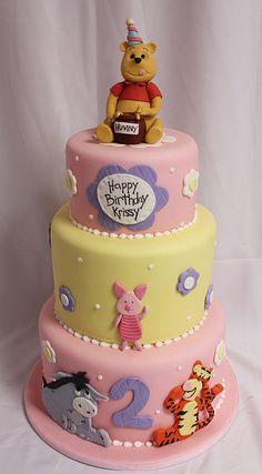 Pooh n friends pink bday med by Amanda Oakleaf Cakes, via Flickr