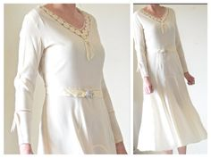 Vintage 1930s Art Deco Vanilla Cream Dress by LaGlamVintage, $125.00