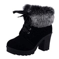 7947352f9e355f COVOYYA 2018 Autumn Winter Ankle Boots Women Fur Cuff Thick Heel Motorcycle  Combat Boots Platform Lace Up Women Shoes hello frien.