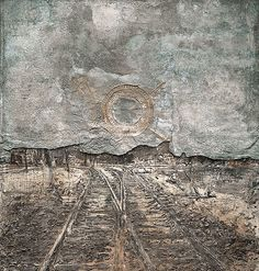 Anselm Kiefer  twilight of the west, 1989, polymer paint, cement, ash, wood, earth, lead sheet, on canvas.