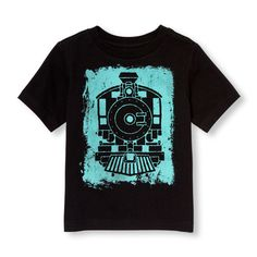 s Toddler Boys Short Sleeve Train Graphic Tee - Black T-Shirt - The Children's Place