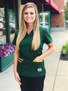 Green Bay Packers Women's NFL Scrub Top with Front Patch Pockets Camo Scrubs, Scrub Tops, Green Bay Packers, Nfl, V Neck, Football, Pockets, My Style, Identity