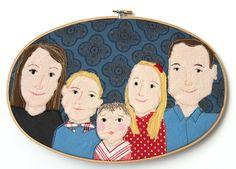 Familienportrait nach Wunsch im Stickrahmen von hebbedinge auf DaWanda.com