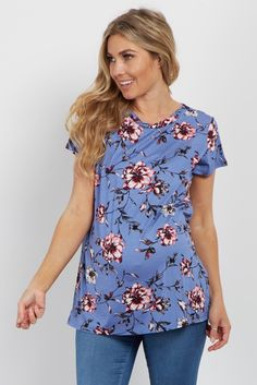 Add a pop of style in your life with this amazing floral maternity top. Fun florals and a weave accent give a feminine and cute feel. Style this top with your favorite maternity jeans and sneakers for a complete casual look.