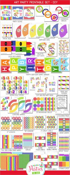 Art Birthday Party Decorations Printable Set (Rainbow Party) ON SALE Now Only $19.99! ❚❚❚❚❚❚❚❚❚❚❚❚❚❚❚❚❚❚❚❚❚❚❚❚❚❚❚❚❚ WHAT YOU ARE PURCHASING: ❚❚❚❚❚❚❚❚❚❚❚❚❚❚❚❚❚❚❚❚❚❚❚❚❚❚❚❚❚ ►Art Party Decorations (Printable Set) with everything you need to decorate your childs next birthday party!