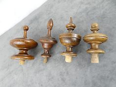 4-Antique-French-Matching-Hand-Turned-Wooden-Finials