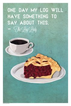Twin Peaks Coffee and pie print Log Lady by YakawonisQuilling